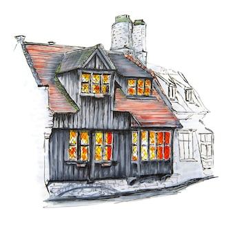 Szkic markera średniowiecznych domów w brugii, belgia