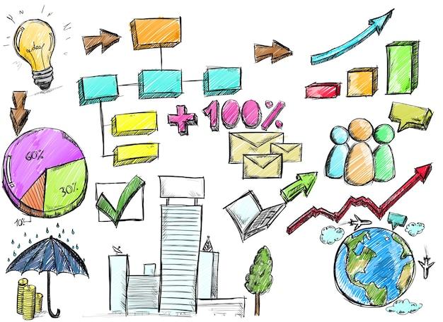 Szkic na ścianie planu i projektu analizy biznesowej