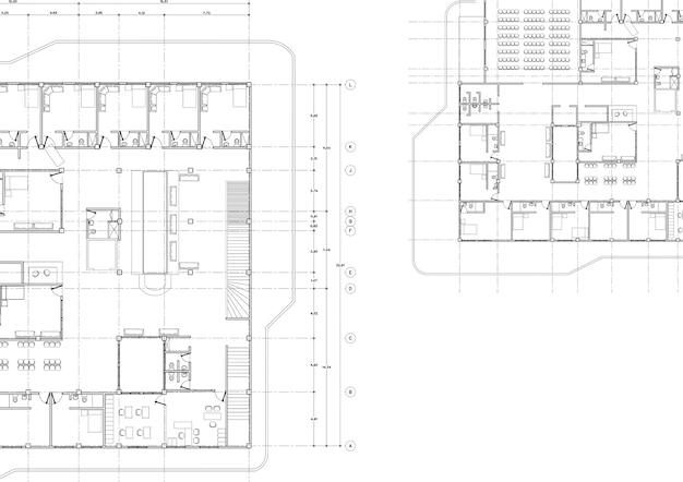Szkic projektu architektonicznego domu ilustracja 3d