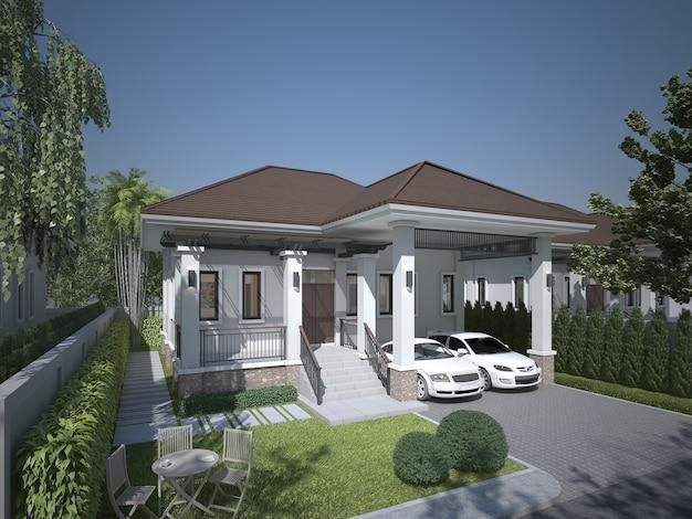 Szkic projektu domu, renderowanie 3d