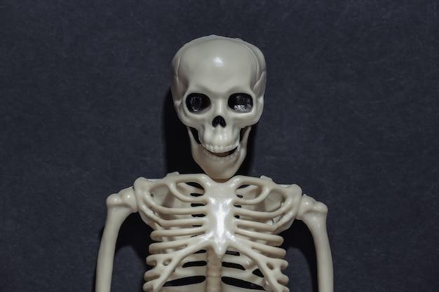 Szkielet wyrzeźbiony na czarnym ciemnym tle. motyw halloween.