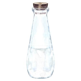Szklana butelka akwarelowa z mlekiem