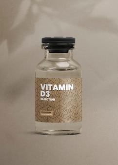Szklana butelka do wstrzykiwań witaminy d3 z luksusową etykietą do pakowania produktów zdrowotnych i wellness