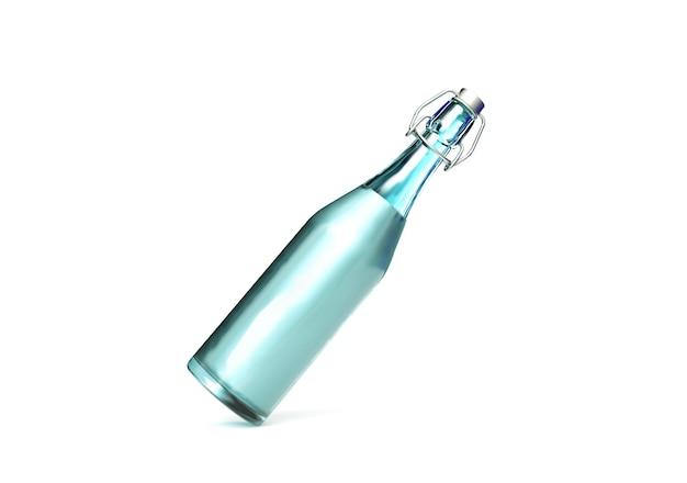 Szklana butelka na białym tle z odbicia. renderowania 3d