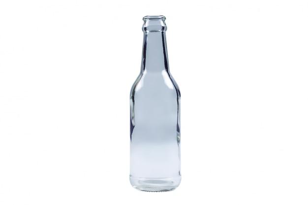 Szklana butelka odizolowywająca na białym tle.