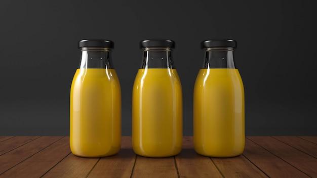 Szklana butelka soku pomarańczowego.