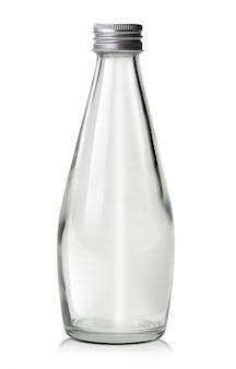 Szklana butelka wody na białym tle