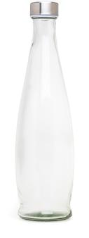 Szklana butelka z metalową nakrętką o pojemności 1 litra. bez etykiety i na białym tle.