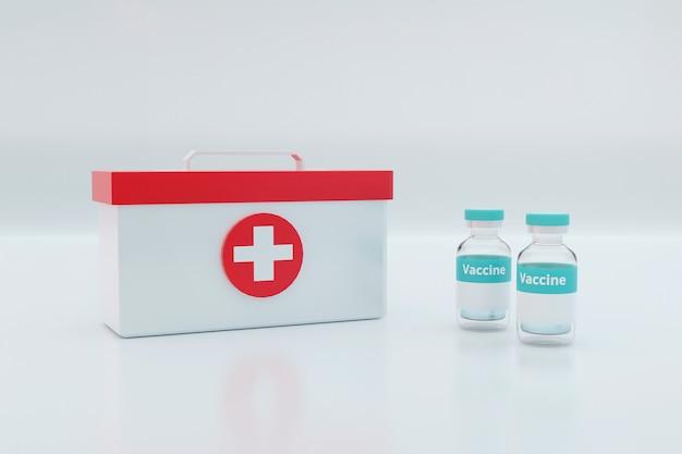 Szklana fiolka leku z aluminiowym kapslem.
