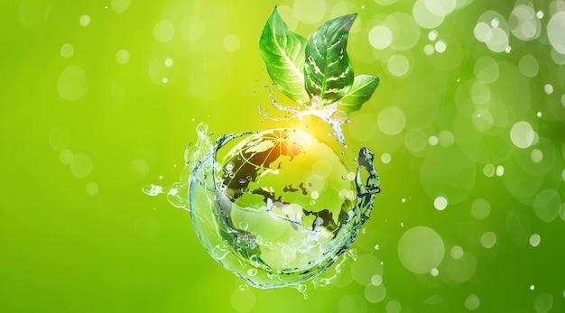 Szklana kula na zielonym mchu w koncepcji natury dla środowiska i ochrony z motylem