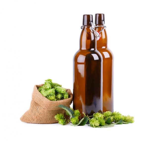 Szklane butelki do piwa kraft ze świeżą zieloną gałązką chmielu, odizolowane