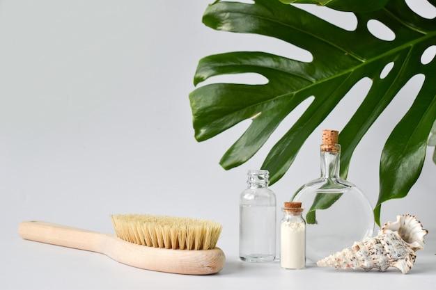 Szklane butelki i szczotka z araceae i muszelką na jasnej powierzchni