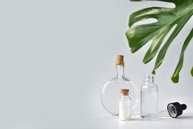 Szklane butelki z gałązką monstery na jasnej powierzchni
