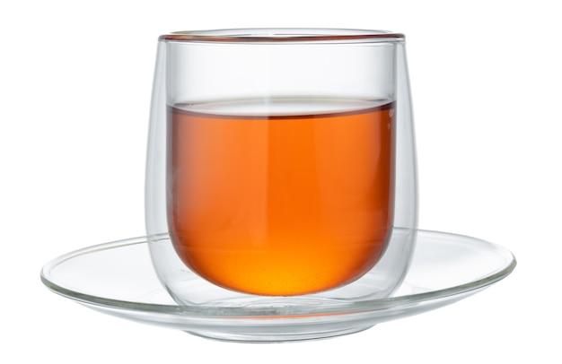 Szklane herbaty na białym tle