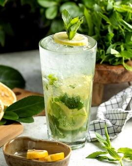 Szklanka mojito przyozdobiona plasterkiem cytryny i liśćmi mięty