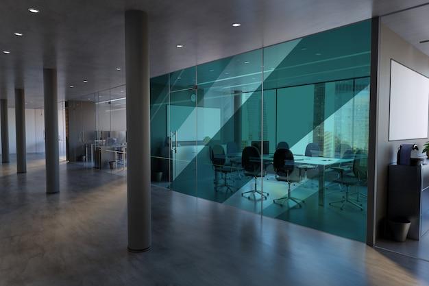 Szklany biurowy pokój ściana - 3d rendering