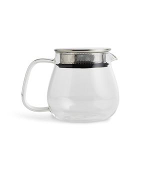 Szklany czajnik na białym tle na białej powierzchni