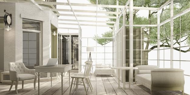 Szklany dom w ogrodzie przydomowym w nowoczesnym luksusowym stylu klasycznym ze stołem roboczym i kanapą