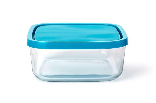 Szklany pojemnik na żywność na białym tle