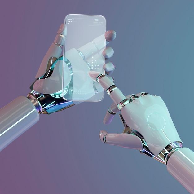 Szklany smartfon, zaawansowana technologicznie innowacyjna technologia ai