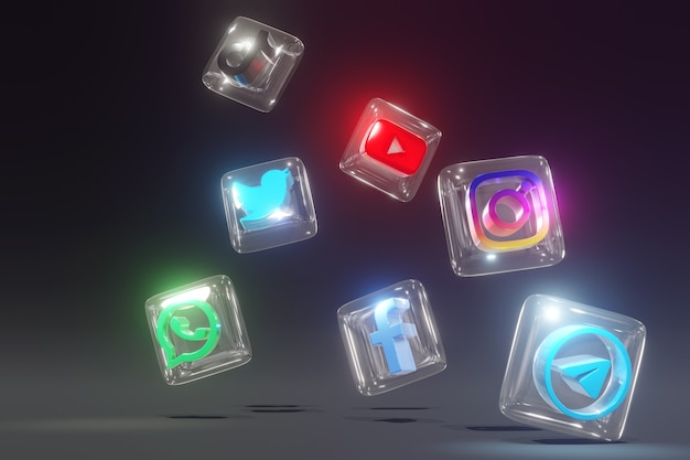 Szkło 3d i błyszczące logo mediów społecznościowych z ciemnym tłem i niechlujną pozycją