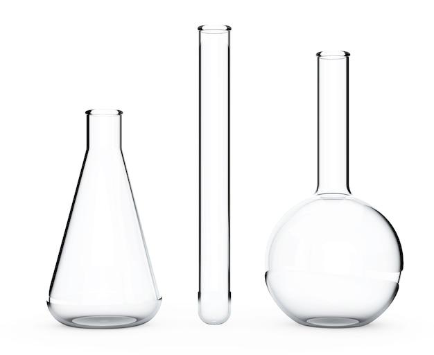 Szkło laboratoryjne. kolby chemiczne na białym tle. renderowanie 3d.