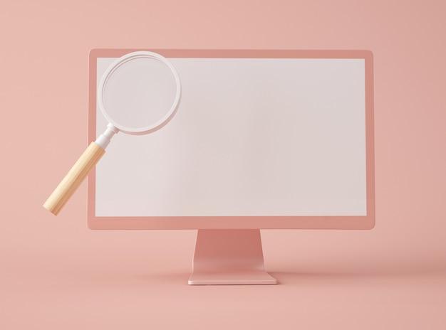 Szkło powiększające na ekranie komputera.