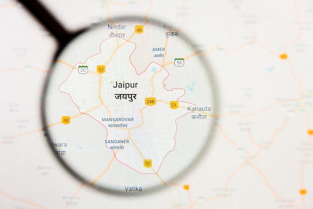 Szkło powiększające na mapie indii