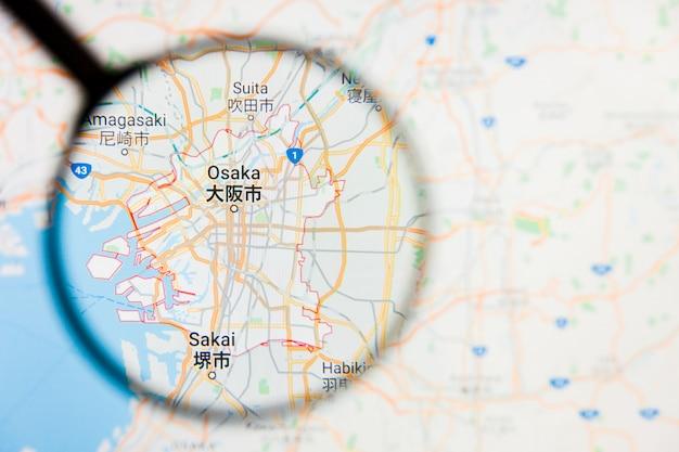 Szkło powiększające na mapie japonii