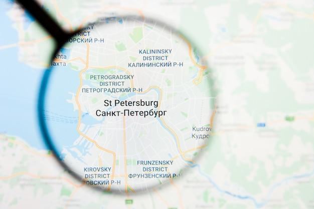 Szkło powiększające na mapie rosji
