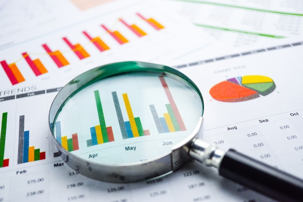 Szkło powiększające na wykresie wykresy arkusz kalkulacyjny papieru. rozwój finansowy.
