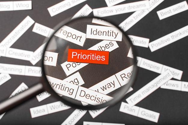 Szkło powiększające nad czerwonymi priorytetami napisów wyciętymi z papieru