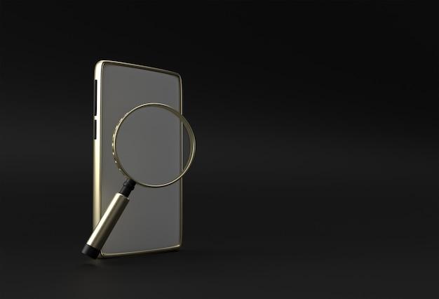 Szkło powiększające wyszukiwania sieci koncepcja smartphone pusty ekran szablon. streszczenie modne modne makieta. renderowania 3d pustej aplikacji mobilnej telefonu.