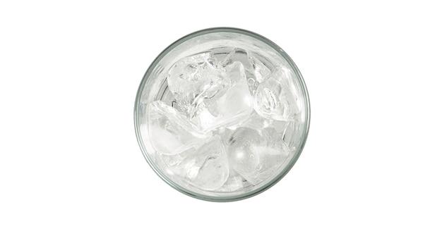Szkło z lodem. widok z góry.