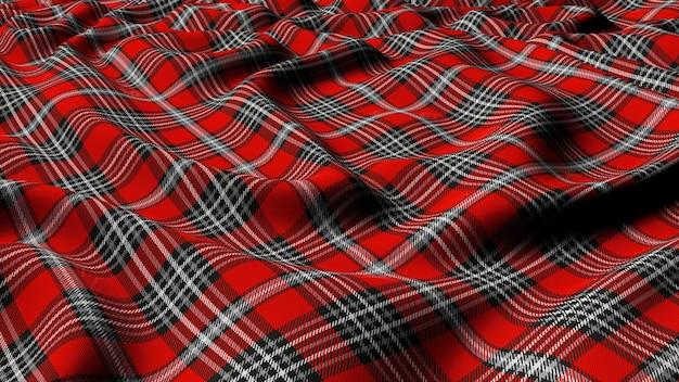 Szkocka krata czerwono-szaro-biała w klasyczną kratę w kratkę bezszwowa tkanina 3d renderowana.