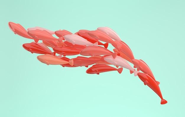 Szkoła ryb pływających za jej prowadzeniem