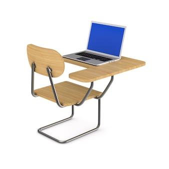 Szkolna ławka i laptop. izolowane renderowanie 3d