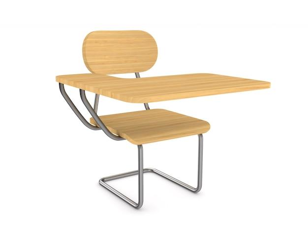 Szkolne biurko i krzesło na białym tle.