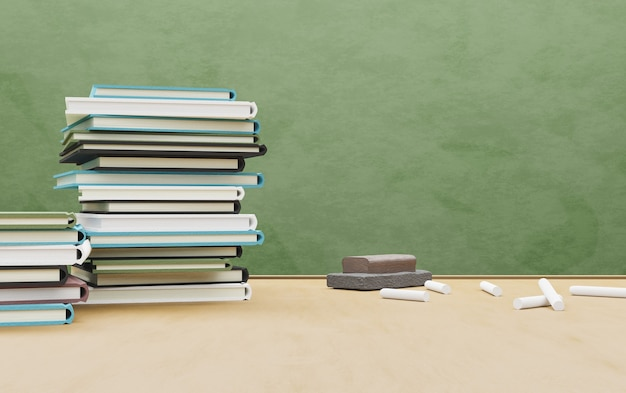 Szkolny stół pełen książek z gumką i kredą oraz tablicą na powierzchni