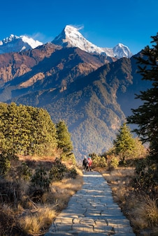 Szlak pieszy do punktu widokowego wzgórza poon w nepalu.