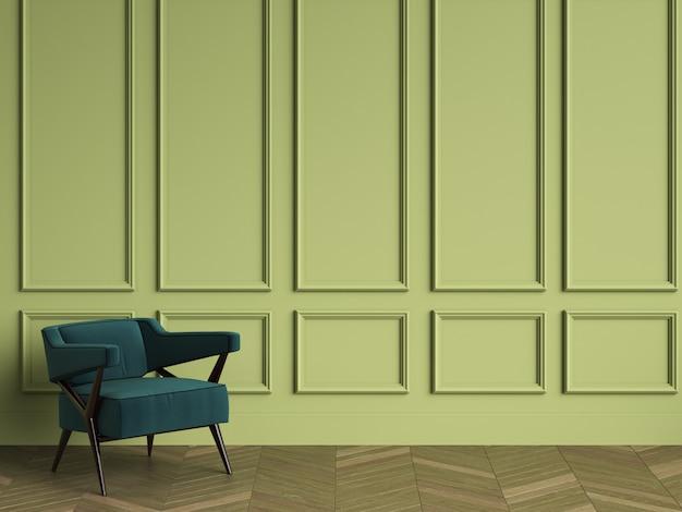 Szmaragdowo zielony fotel w klasycznym wnętrzu z miejscem do kopiowania. zielone ściany z listwami. parkiet podłogowy w jodełkę. renderowania 3d