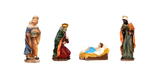 Szopka na białym tle; trzej mędrcy i jezus chrystus