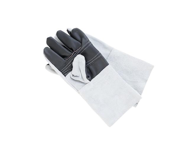 Szorstka skórzana rękawica do spawania na białym tle