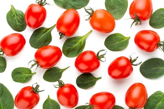 Szpinak i pomidory wzór na białym tle