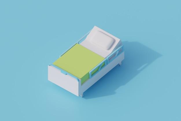Szpital sypialnia pojedynczy izolowany obiekt. 3d render ilustracji izometryczny