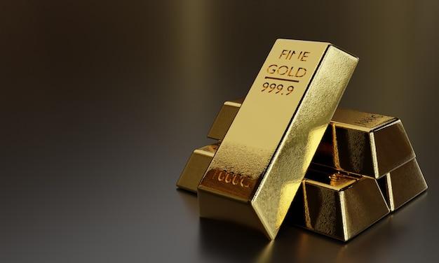 Sztabka czystego złota reprezentuje pomysł na biznes i finanse, tło z prawdziwymi sztabkami złota, z kopią przestrzeni, renderowanie 3d