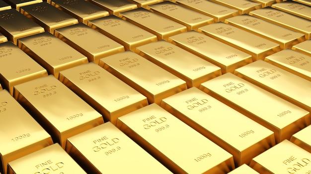 Sztabki złota 1000 gramów czystego złota, inwestycje biznesowe i koncepcja bogactwa. bogactwo złota, renderowanie 3d