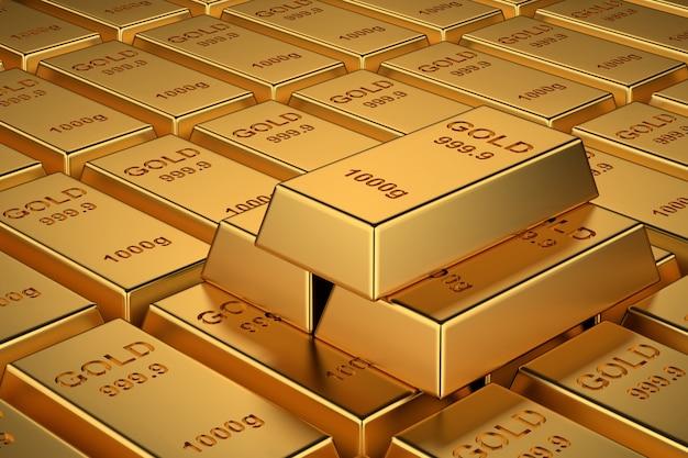 Sztabki złota na baner na stronie internetowej. renderowanie 3d.