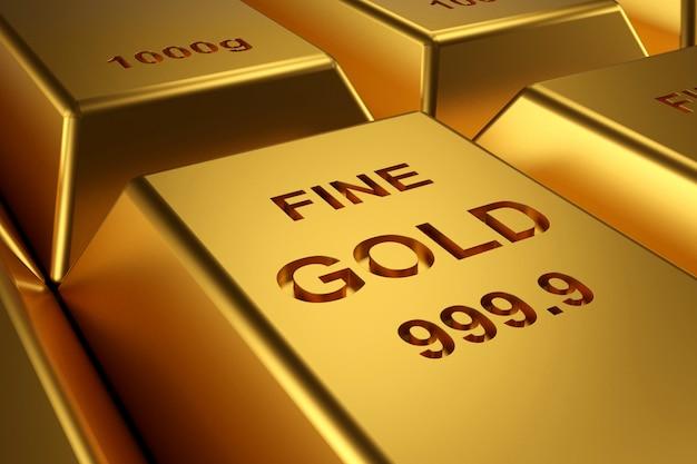Sztabki złota na baner strony internetowej. renderowanie 3d sztabek złota.