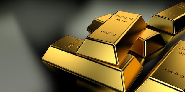 Sztabki złota na baner strony internetowej. renderowanie 3d.